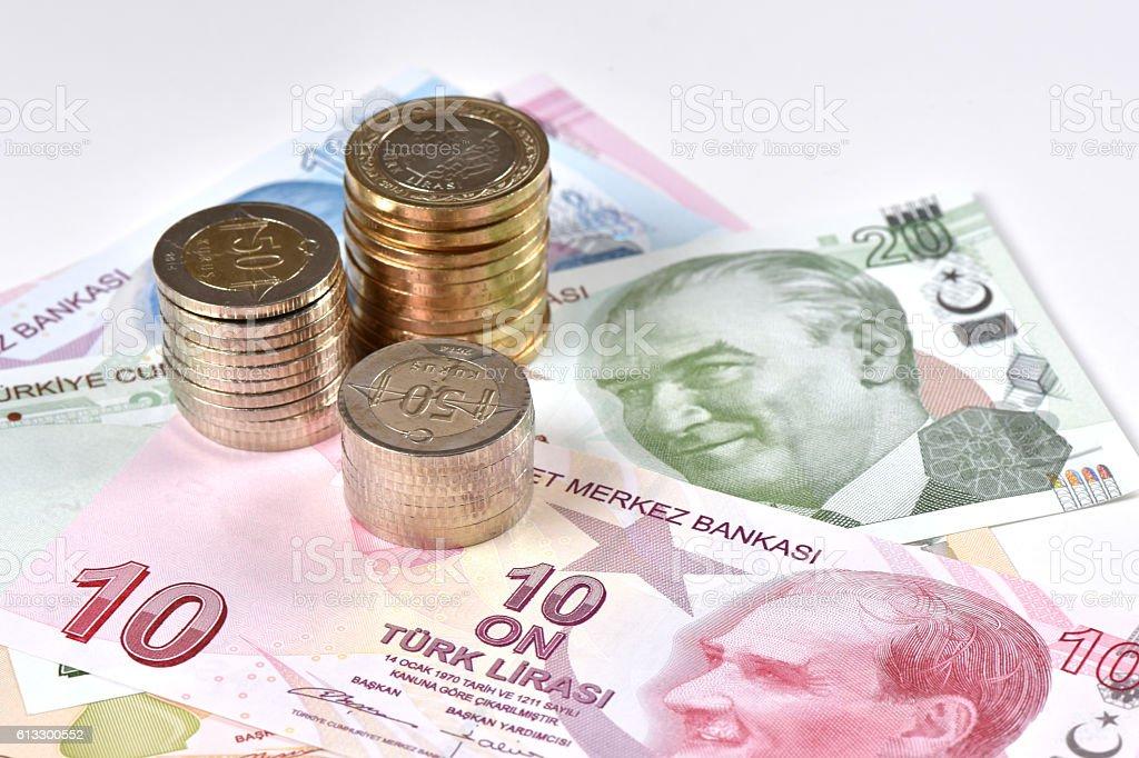 Turkish Lira baknnotes and coins stock photo