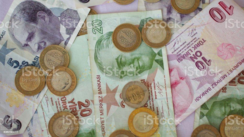 Turkish Lira Banknotes and Coins stock photo