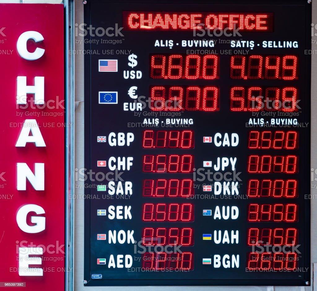 Turkish lira foreign exchange rates displays royalty-free stock photo