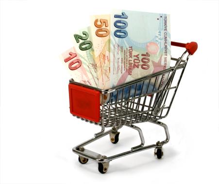 turkish lira in shopping trolley