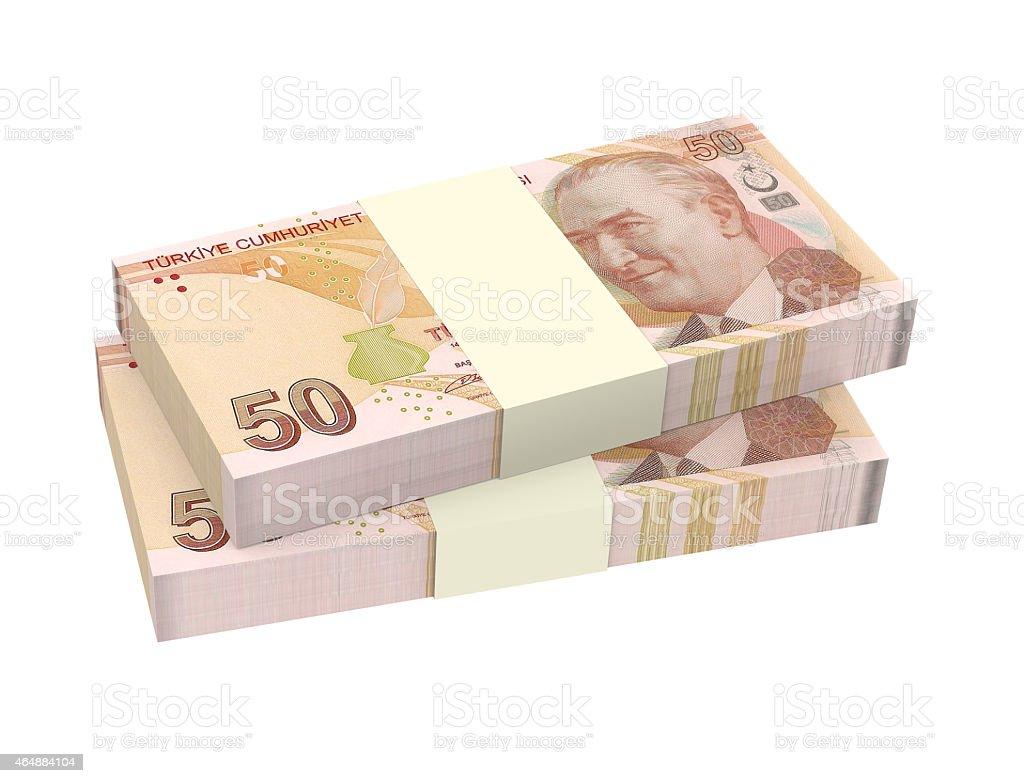 Turkish lira isolated on white background stock photo