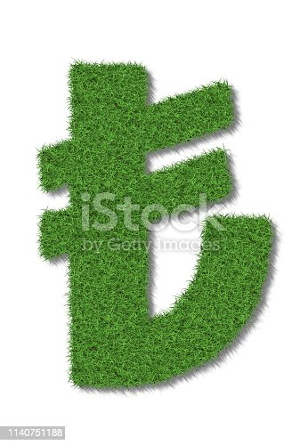 A turkish lira sign in lush green grass on a white background