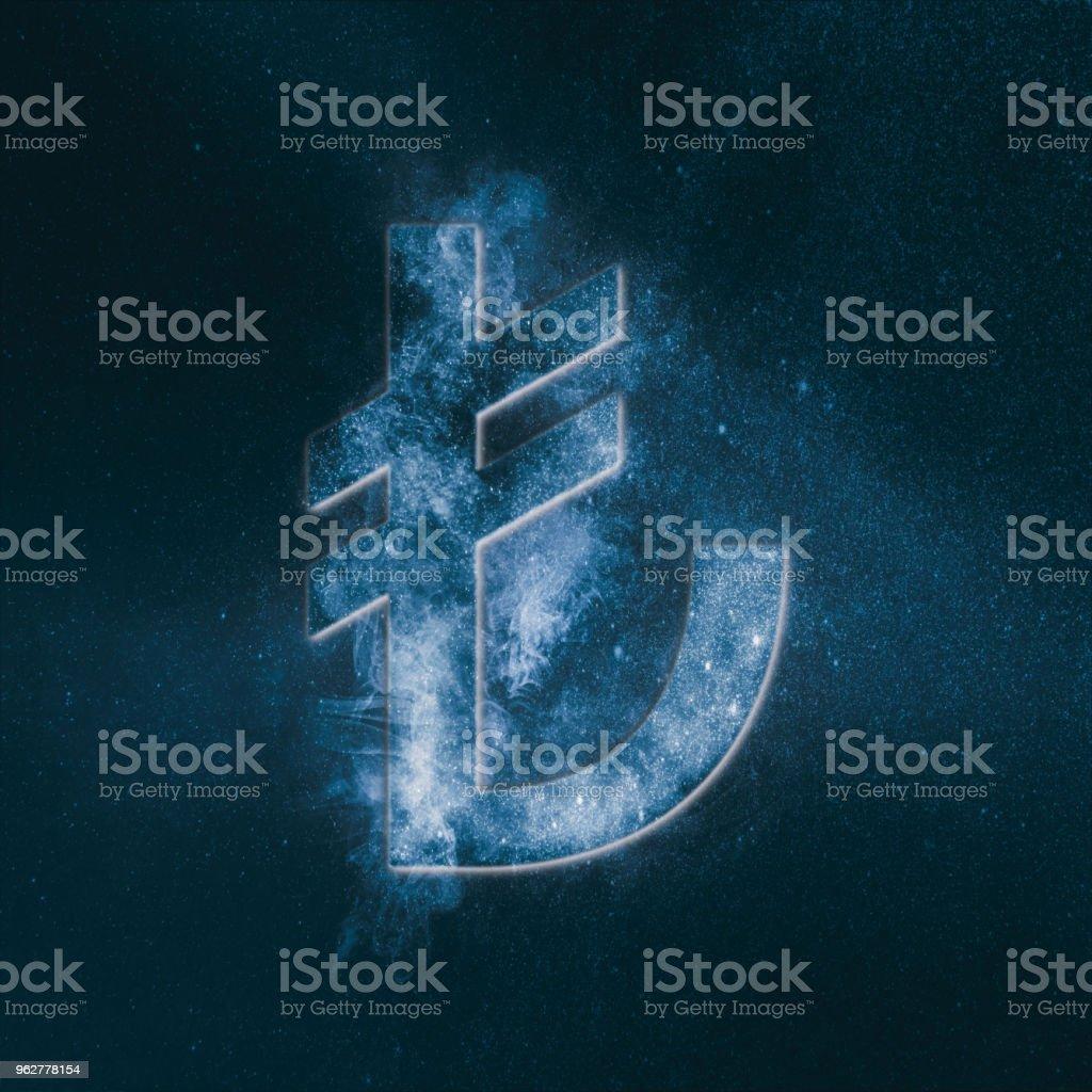 Turkish Lira Symbol. Turkish Lira Sign. Monetary currency symbol. Abstract night sky background. stock photo