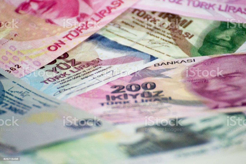 Turkish Liras for Background stock photo