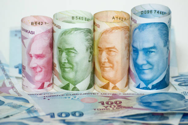 Turkish Liras for Background stock photo