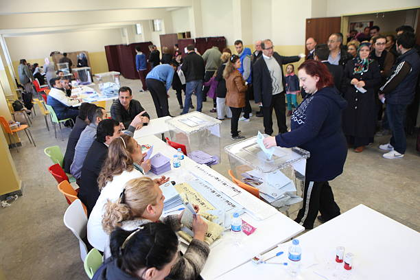 Turkish Local Elections Istanbul, Turkey-March 30, 2014: Turks flee to election centers to vote for the Turkish local Elections on March 30, 2014 in Istanbul, Turkey. 2014 stock pictures, royalty-free photos & images