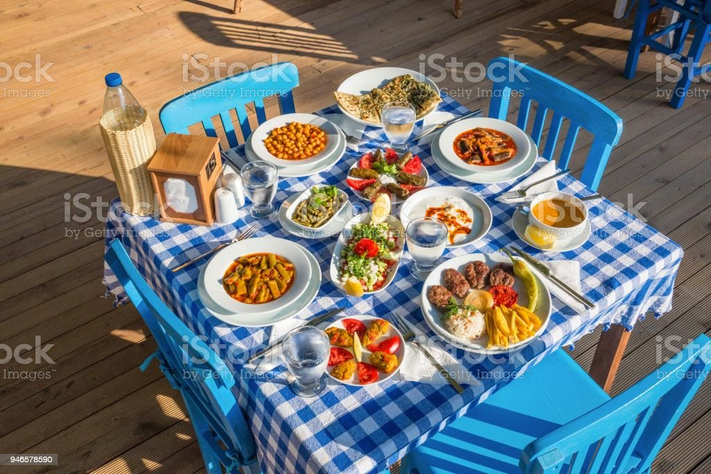 Turkish Lunch Table stock photo