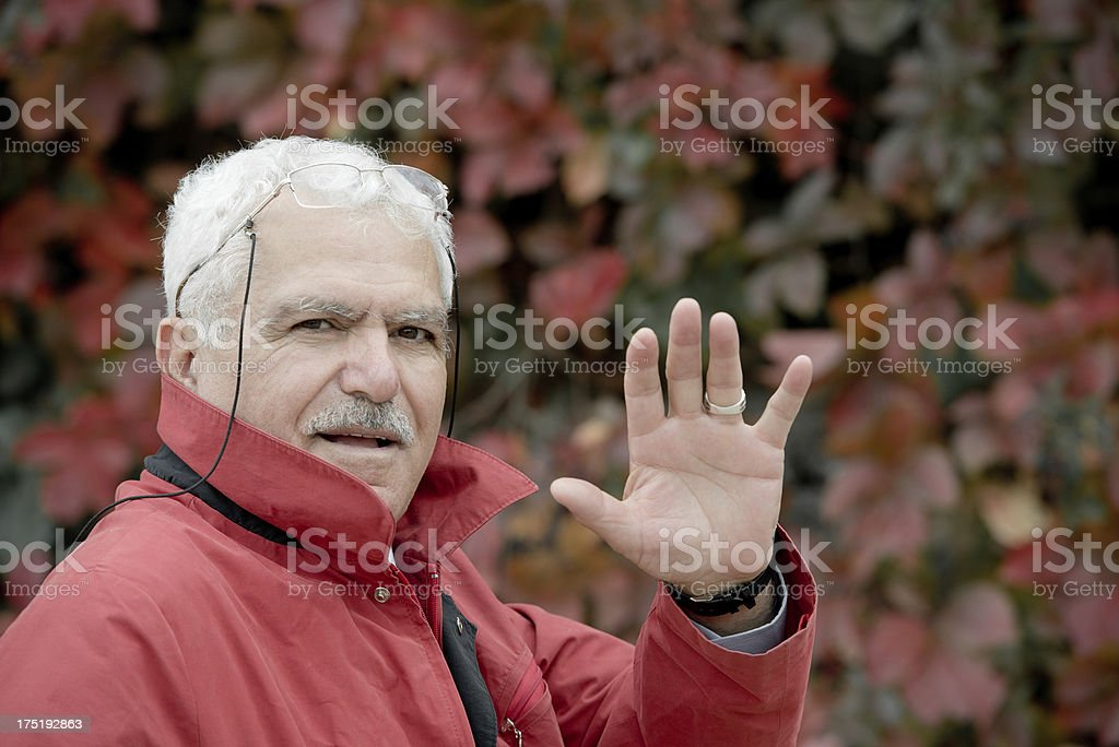 Turkish man holding his hand up. royalty-free stock photo