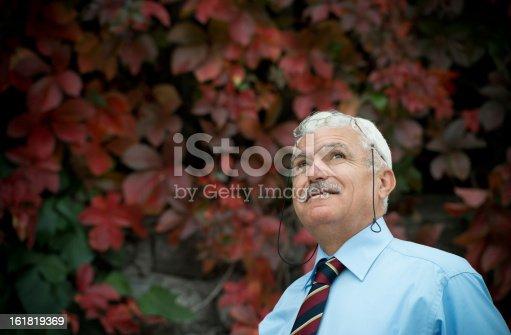 Turkish man looking up.