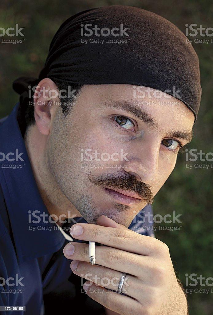 Turkish man with mustache and bandana royalty-free stock photo