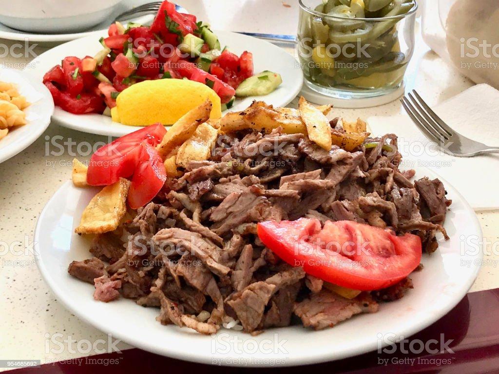 Turkish Meat Food Doner Kebab Portion / Kebap. stock photo