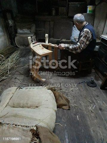 Şanlıurfa, Turkey April 25, 2019:Turkish men prepare old fashioned saddle in Anatolian artisan street,
