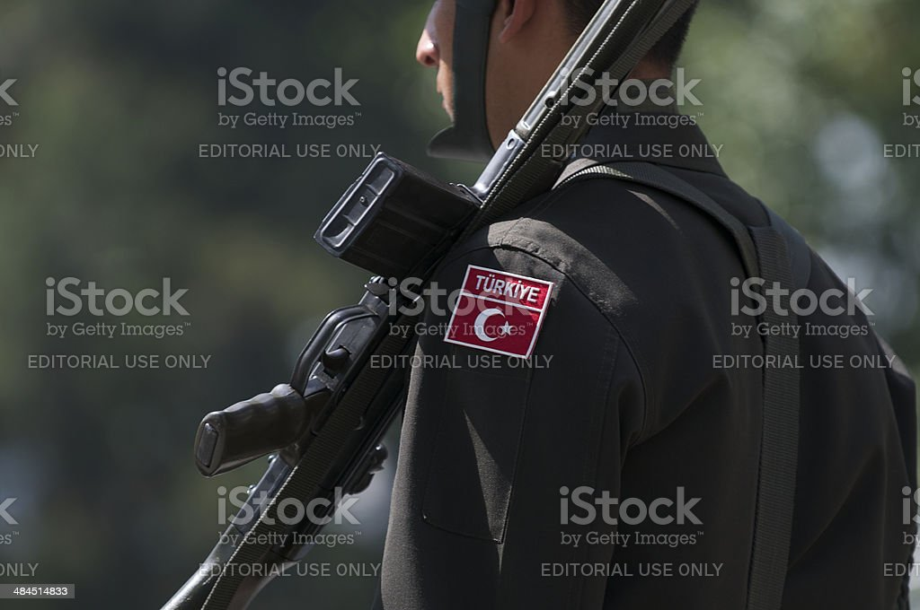 Turkish Military Soldier Portrait with Rifle Istanbul Turkey stock photo
