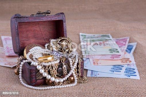 istock Turkish Money and Jewelry Chest 899497616