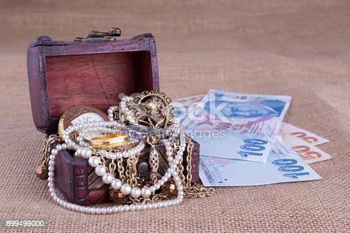 istock Turkish money and jewelry chest 899499000