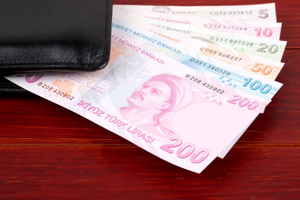Türkisches Geld im schwarzen Geldbeutel – Foto