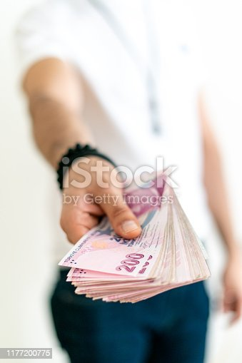 Stack of 200 Turkish Liras