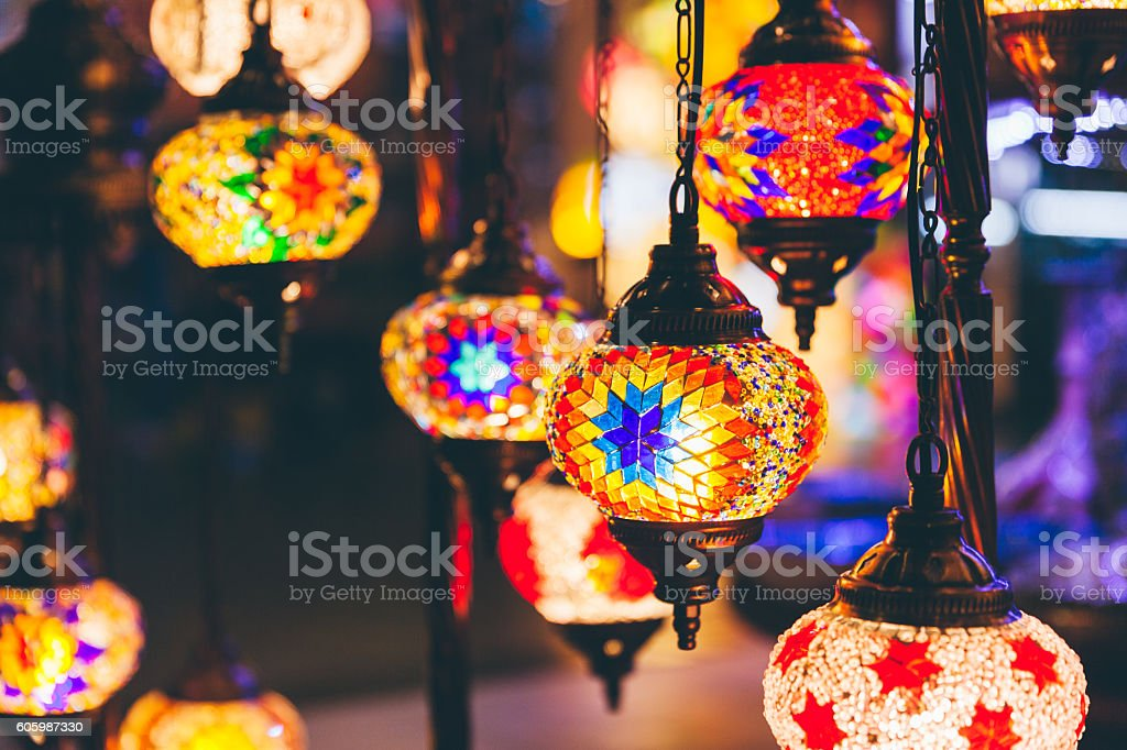 Turkish Mosaic Lamps stock photo