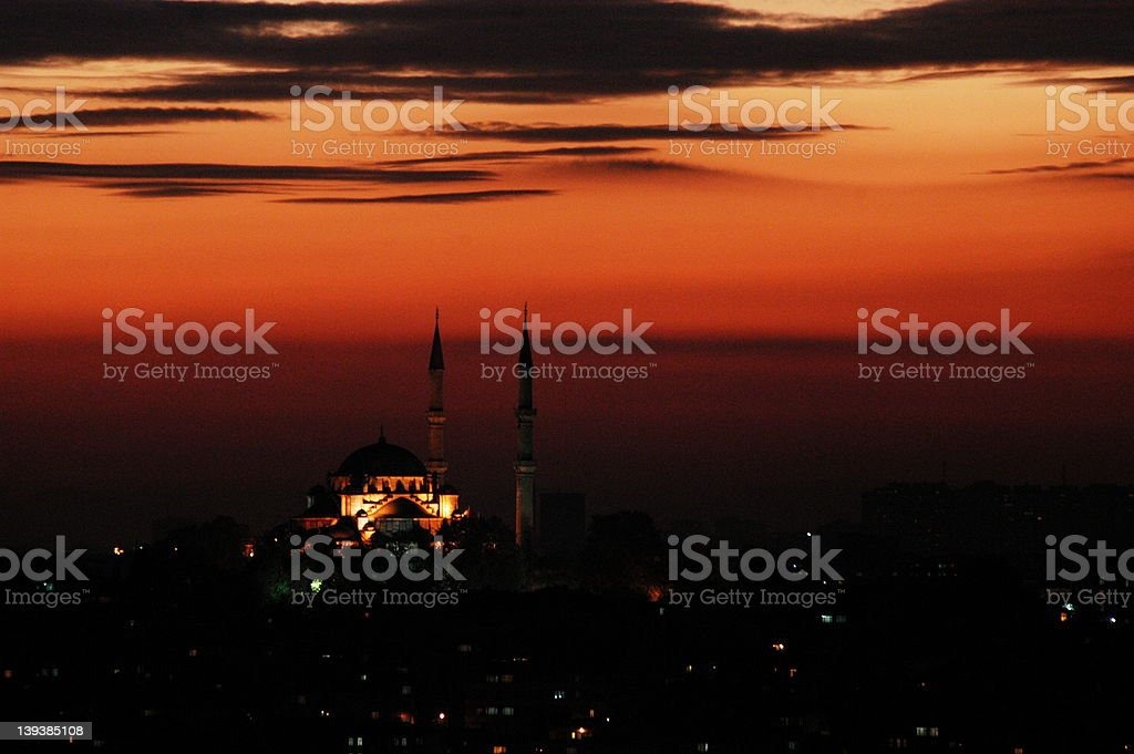 Turkish mosque at sunset royalty-free stock photo