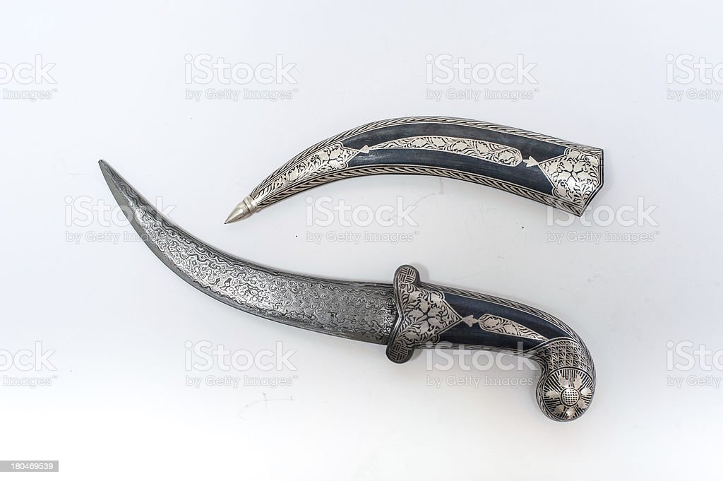 turkish Old damascus blade with natural shadow stock photo