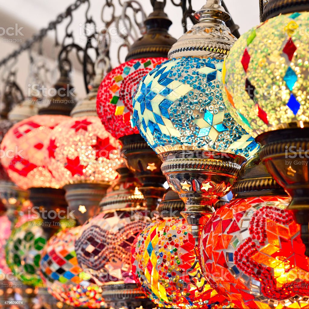Turkish or oriental lamps on a bazaar stock photo
