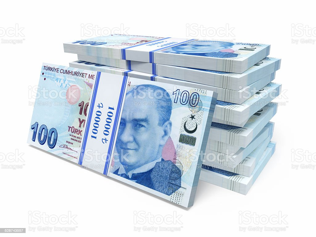 Turkish paper banknotes stock photo