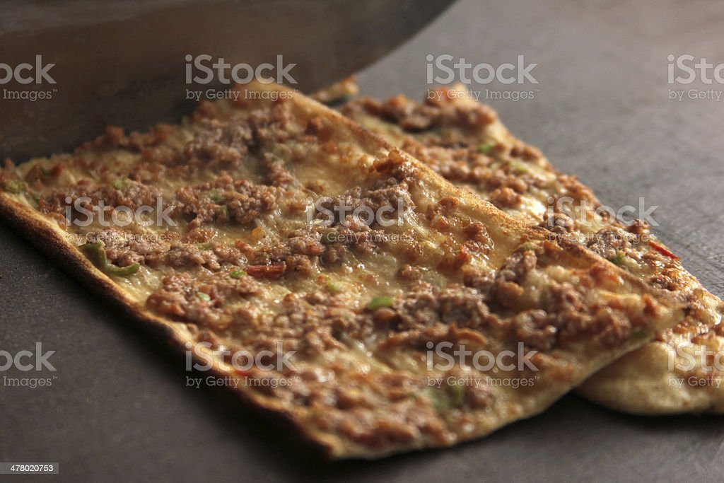 Turkish pizza, Etliekmek royalty-free stock photo