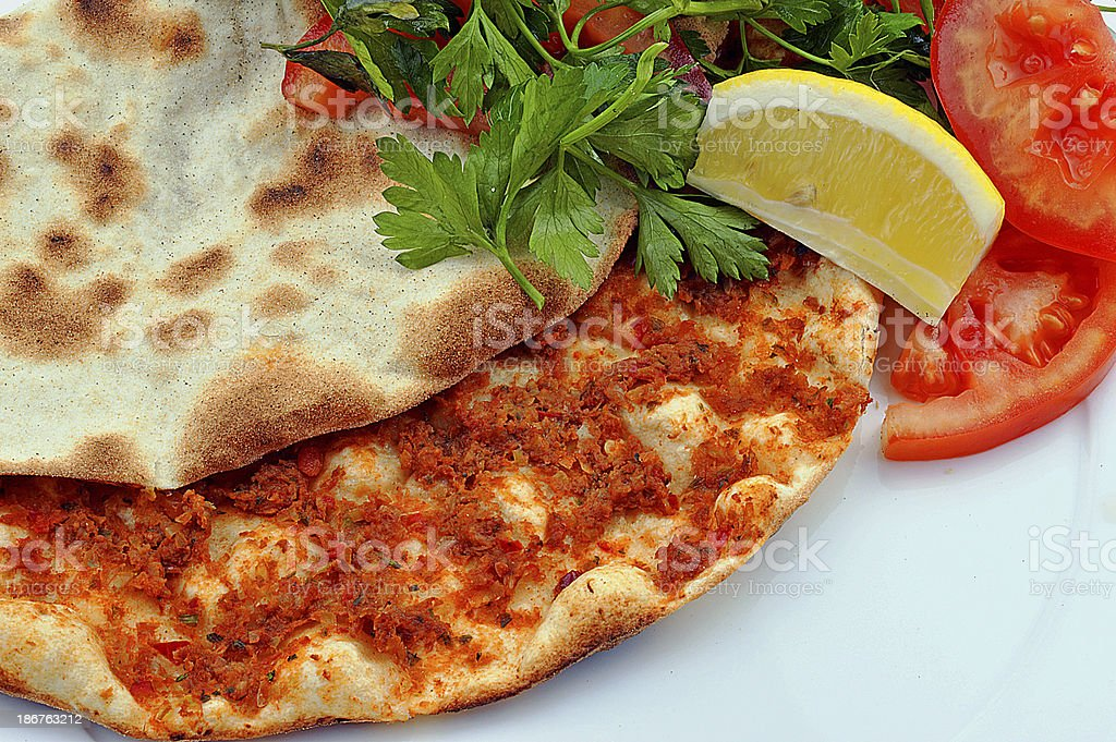Turkish pizza-Lahmacun stock photo