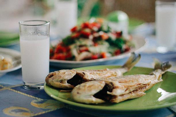 Turkish raki and fried fish