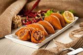 Turkish Ramadan Food icli kofte ( meatball ) falafel