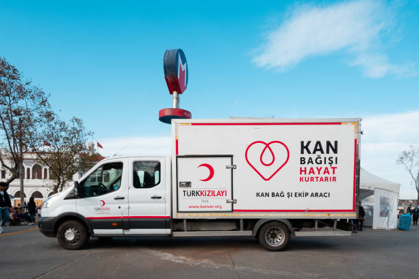 Turkish Red Crescent (Kizilay) bloodmobile at Kadikoy, Istanbul stock photo