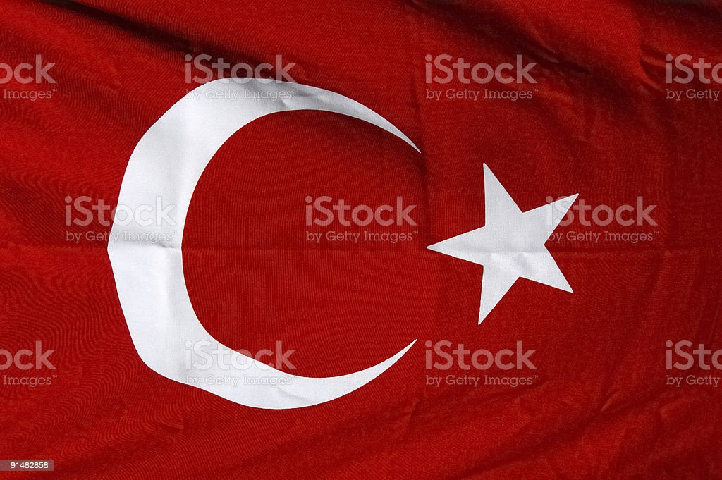 Turkish red flag with white star and moon royalty-free stock photo