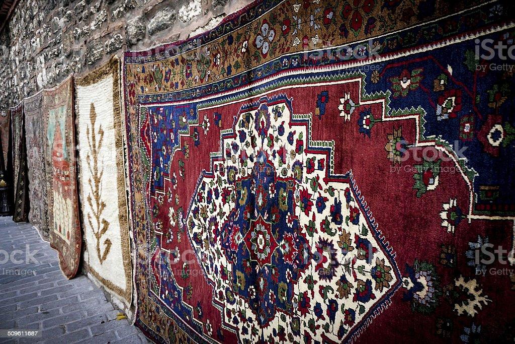 Turkish Rugs Hanging stock photo