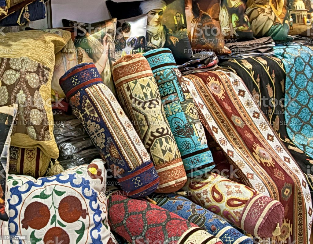 Turkish rugs, kilims and carpets.. Grand bazaar Istanbul on November 4, 2014 in Istanbul. stock photo