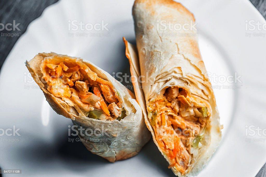 Turkish Shawarma durum Traditional sish kebab wrap and kofte meatball stock photo