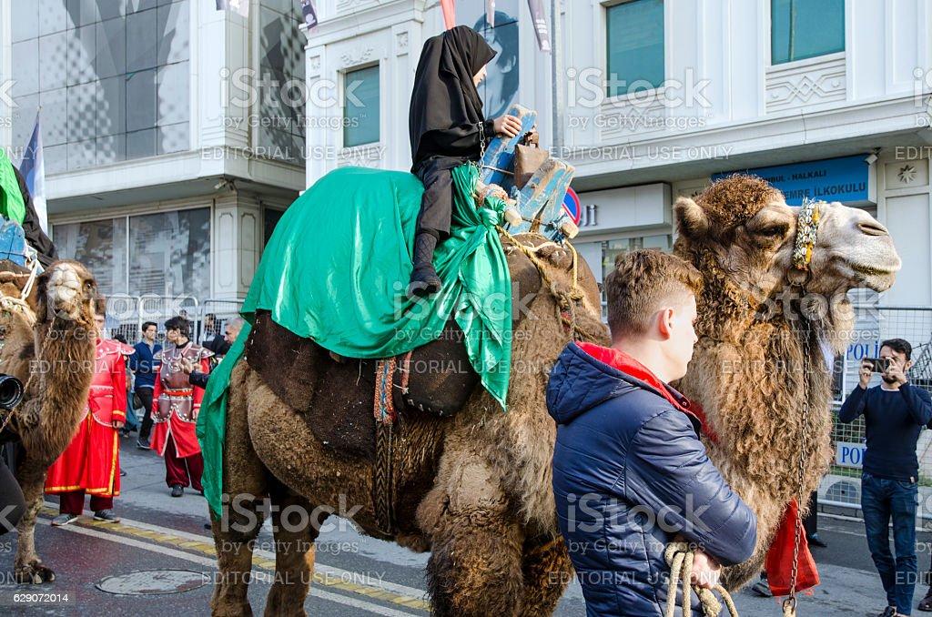 Turkish Shia children takes part in an Ashura parade stock photo