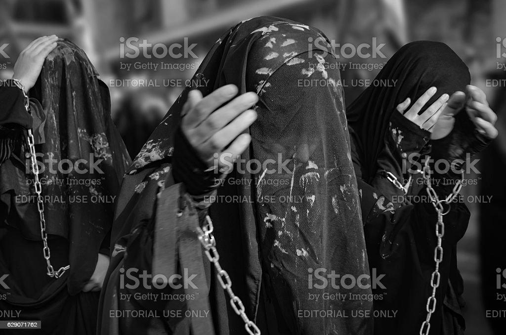 Turkish Shia girls takes part in an Ashura parade stock photo