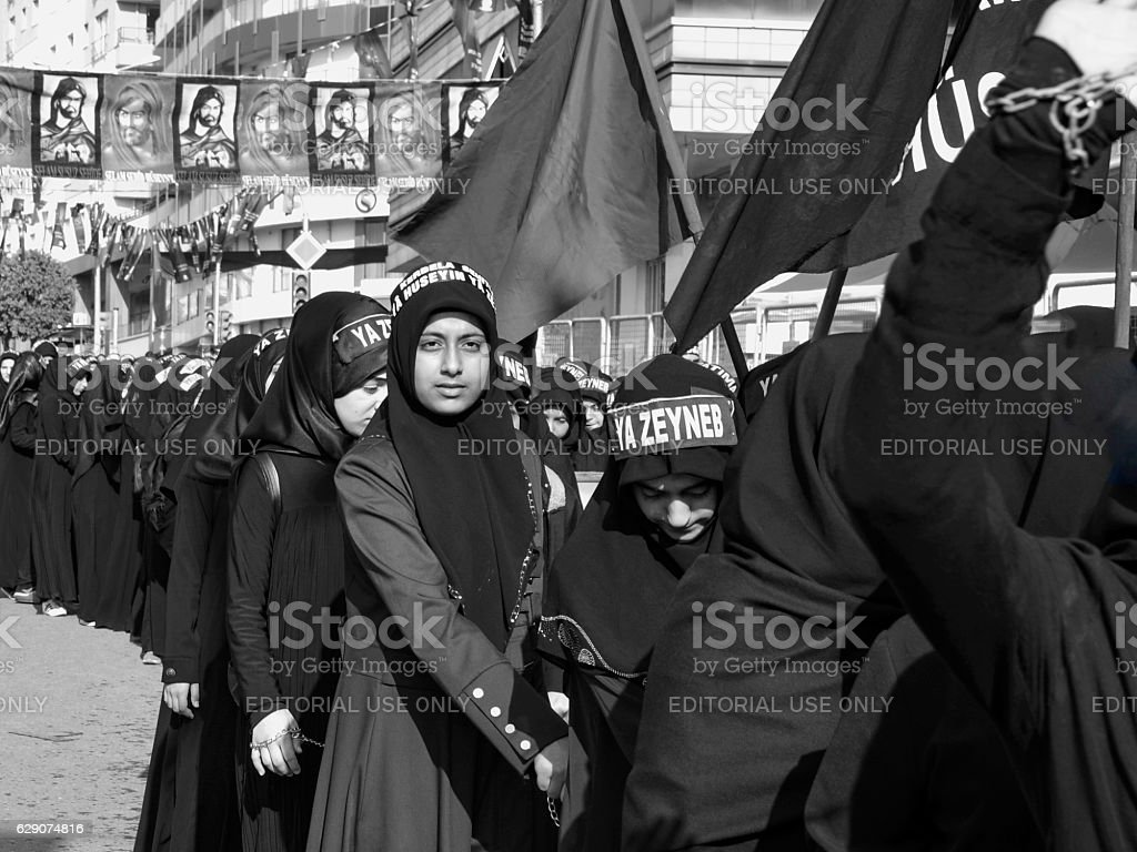 Turkish Shia women takes part in an Ashura parade stock photo