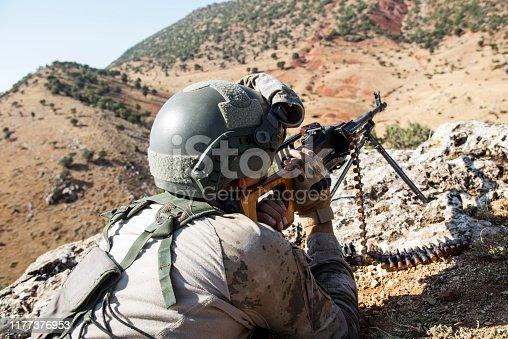 Turkish Soldier Shooting With Machine Gun