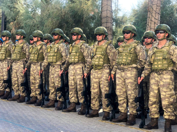 Turkish soldiers are standing during the Armed Forces Day is a national holiday that is currently celebrated in Turkey. stock photo