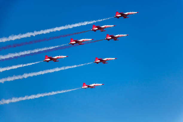 turkish stars (triangle) - airshow stock photos and pictures