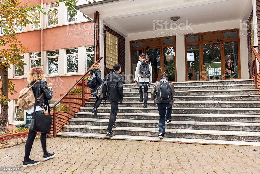 Turkish Students Going to School, Istanbul stock photo