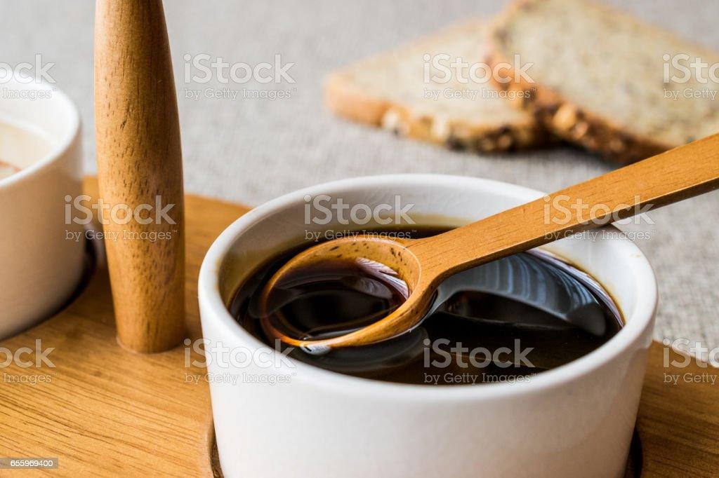 Turkish Tahin Pekmez / Tahini and Molasses. stock photo