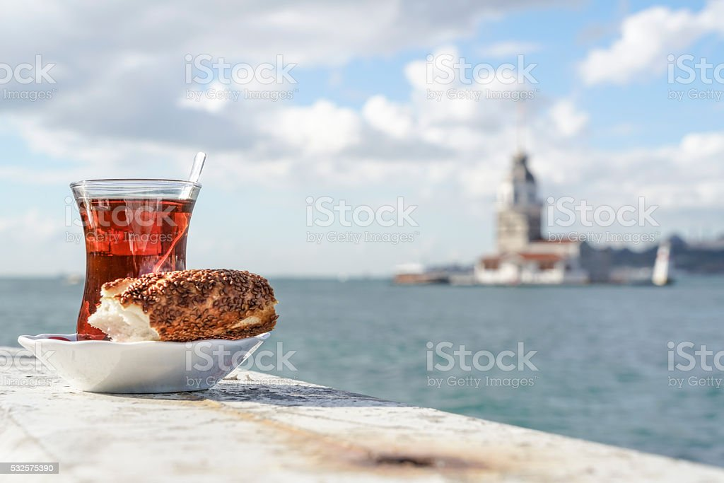 Turkish tea and bagel against sea in istanbul, Turkey stock photo