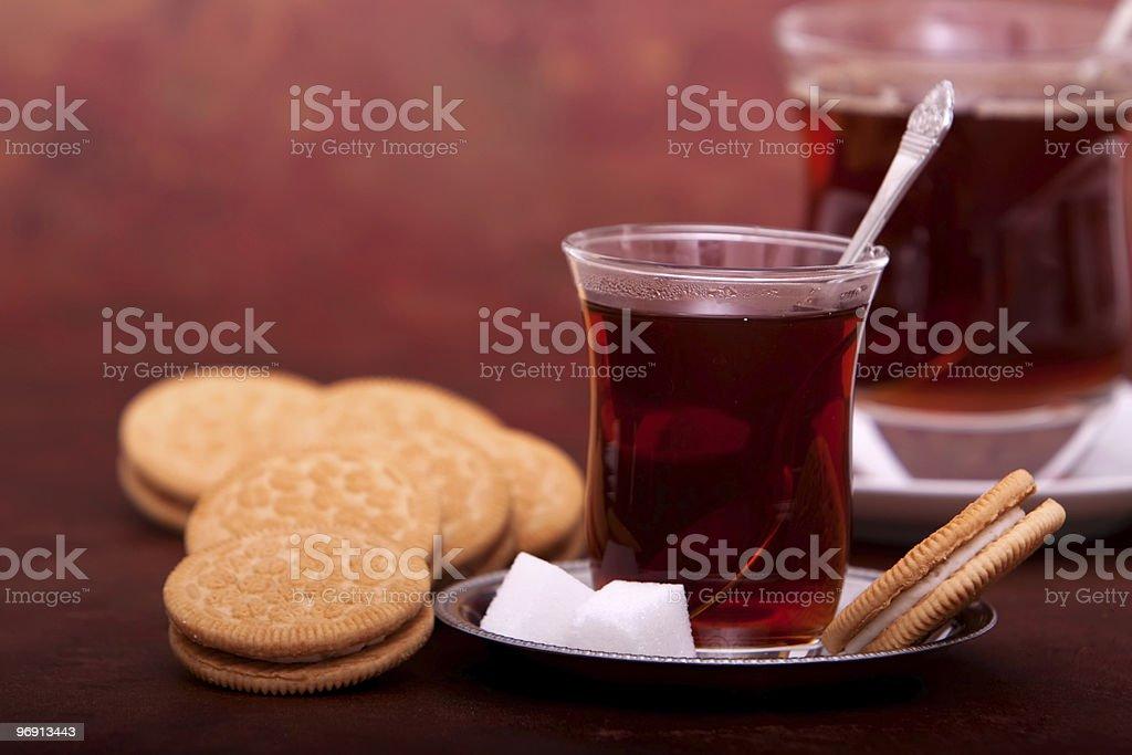 Turkish tea and cookies royalty-free stock photo