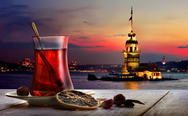 Turkish tea Maiden Tower
