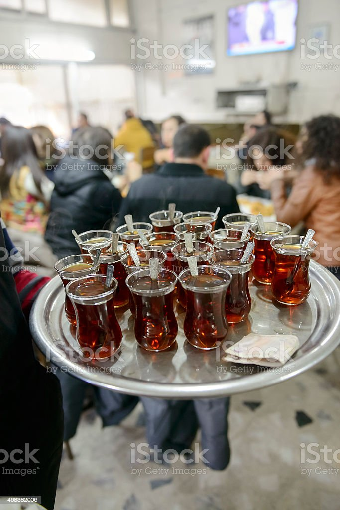 Turkish tea , ready to service on tray for the background...