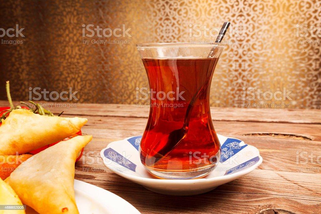Black tea on the wood