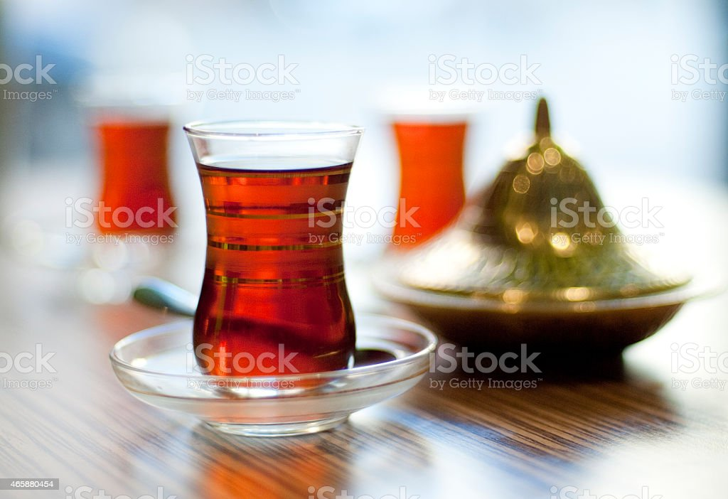 Turkish tea served in traditional style stock photo