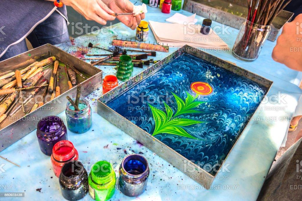 Turkish technique of painting ebru stock photo